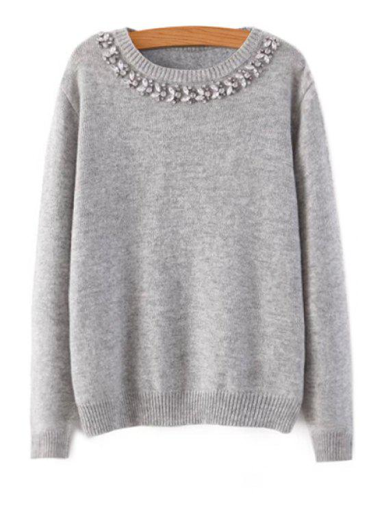 buy Rhinestone Long Sleeve Sweater - GRAY L