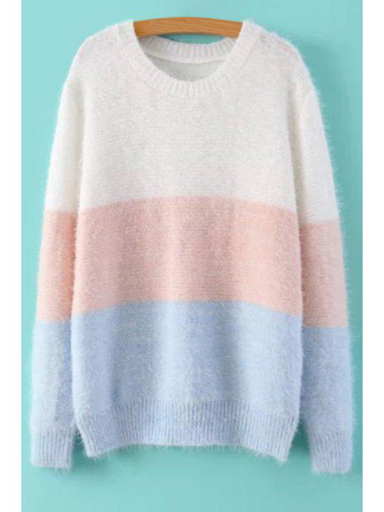 women Color Block Mohair Sweater - COLORMIX M