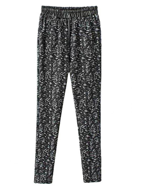 hot Print PU Leather Splicing Pants - BLACK S