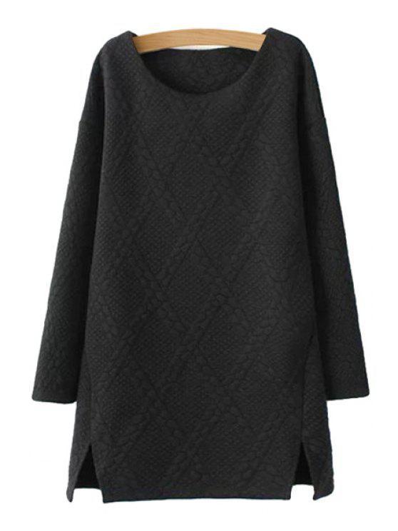 affordable Solid Color Argyle Dress - BLACK S