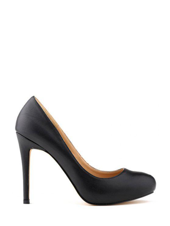 buy Stiletto Heel Solid Color Round Toe Pumps - BLACK 35