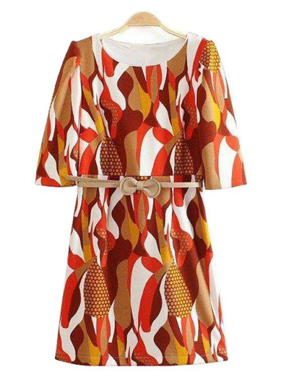 outfits Half Sleeve Abstract Print Dress - COLORMIX S