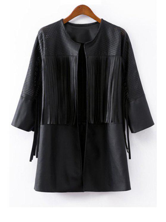 unique Hollow Fringe PU Leather Coat - BLACK S