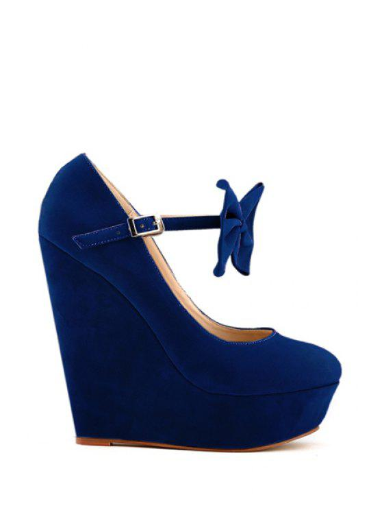 sale Suede Bowknot Wedge Heel Buckle Pumps - BLUE 37