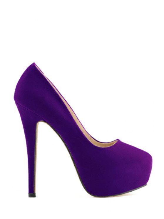 affordable Suede Platform Sexy High Heel Pumps - PURPLE 41