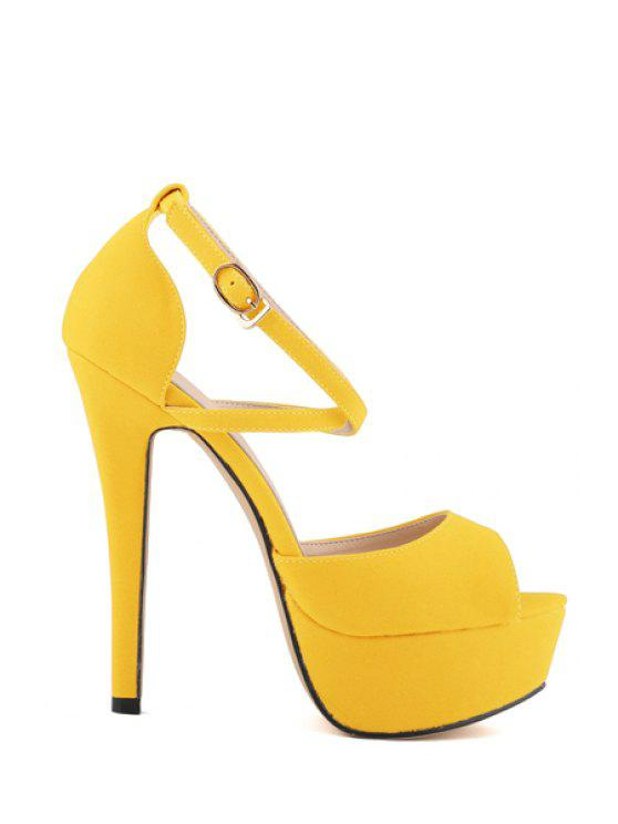 190e69fb1d2 40% OFF  2019 Platform Criss-Cross Stiletto Heel Sandals In YELLOW ...