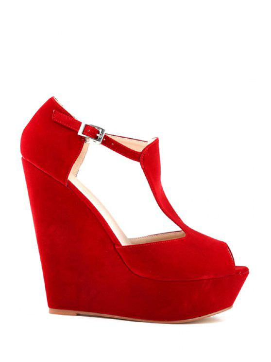 outfit Suede Wedge Heel T-Strap Buckle Sandals - RED 41