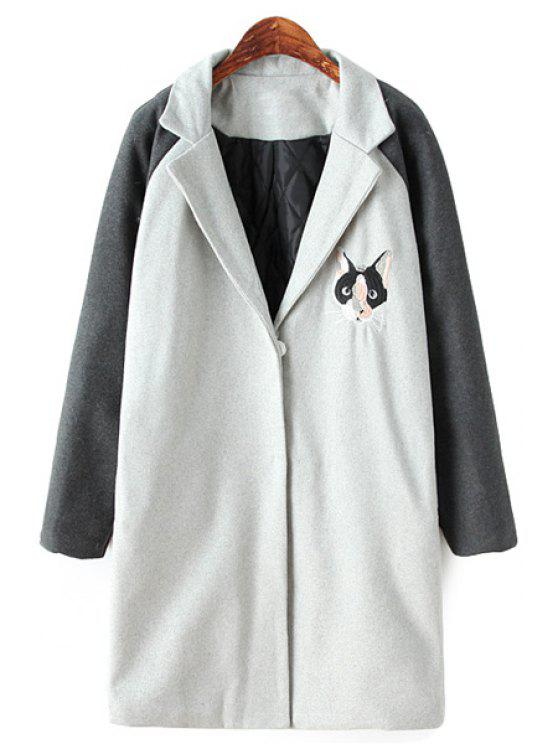 women Cat Embroidery Color Block Coat - LIGHT GRAY ONE SIZE(FIT SIZE XS TO M)