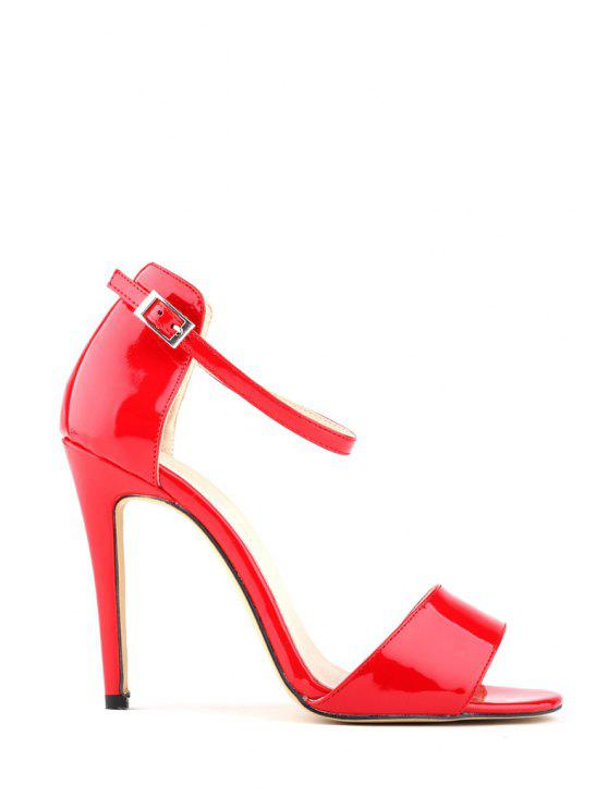 womens Patent Leather Stiletto Heel Buckle Sandals - RED 39