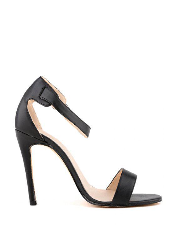 lady Solid Color Stiletto Heel Buckle Sandals - BLACK 35
