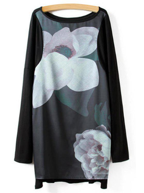 hot Floral Print Splicing Blouse - BLACK S
