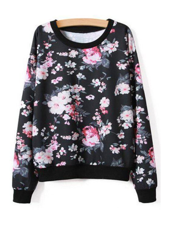 ladies Full Floral Long Sleeve Sweatshirt - BLACK S