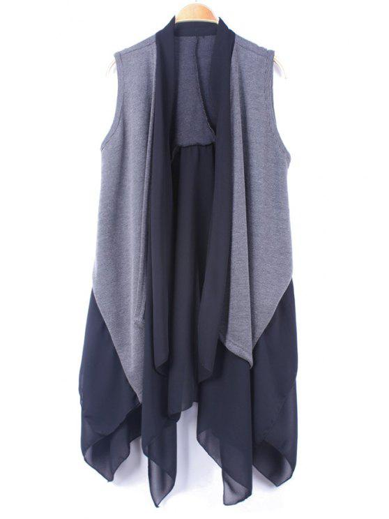 shops Chiffon Knit Splicing Waistcoat - DEEP GRAY XL
