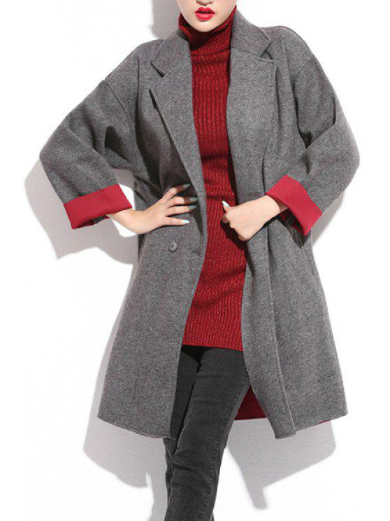 new Color Block Lapel Worsted  Coat - GRAY XL