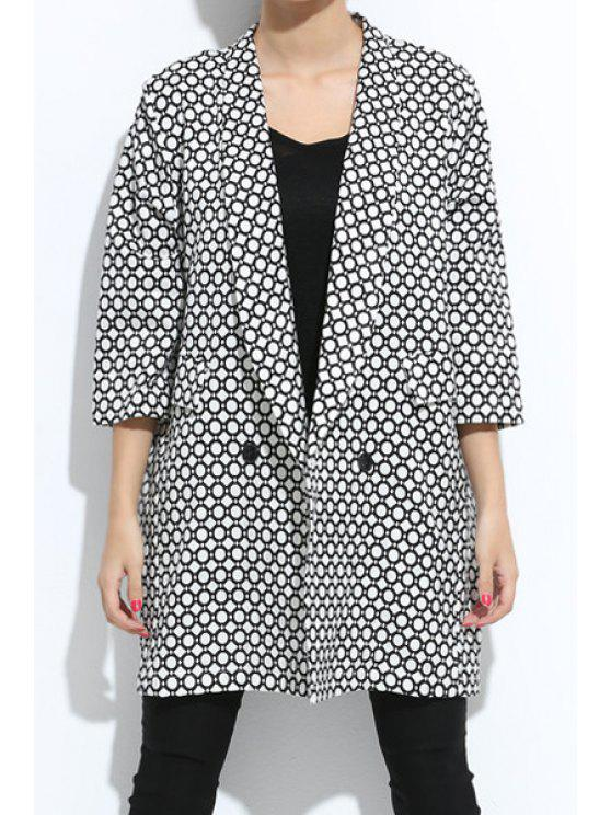 shop 3/4 Sleeve Geometric Pattern Coat - WHITE AND BLACK XL