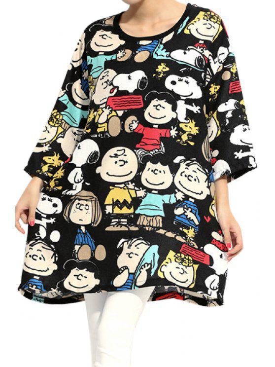 trendy 3/4 Sleeve Characters Print Dress - BLACK 2XL