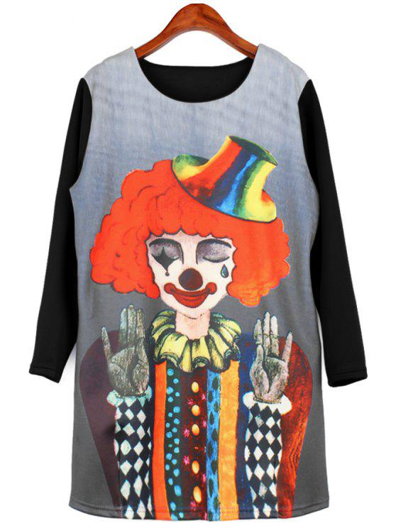 fancy Clown Print Long Sleeve Dress - BLACK XL