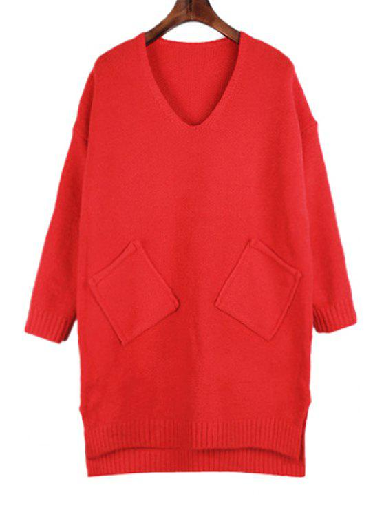 women V-Neck Solid Color Pockets Sweater - RED ONE SIZE(FIT SIZE XS TO M)