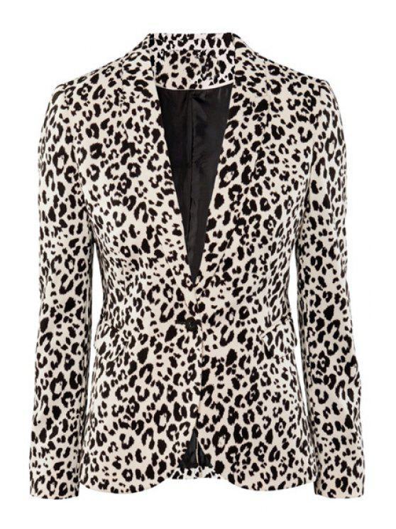 outfit Lapel Neck Leopard Print Blazer - LEOPARD XS