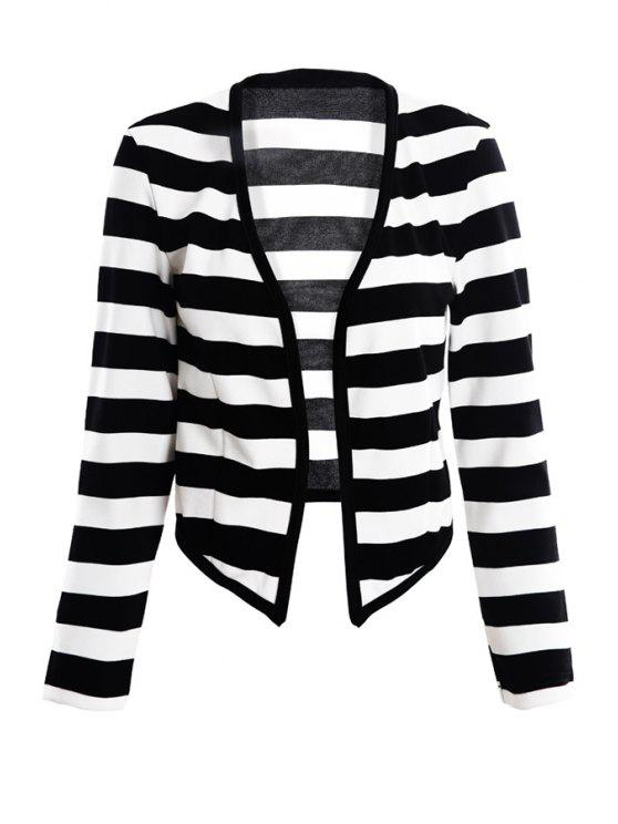 women's Striped Pattern Long Sleeve Blazer - STRIPE XS