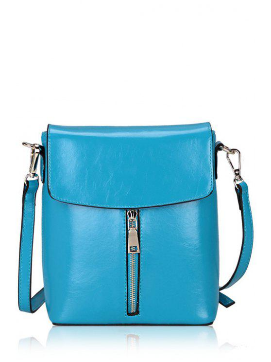 affordable Candy Color Zipper PU Leather Crossbody Bag - BLUE