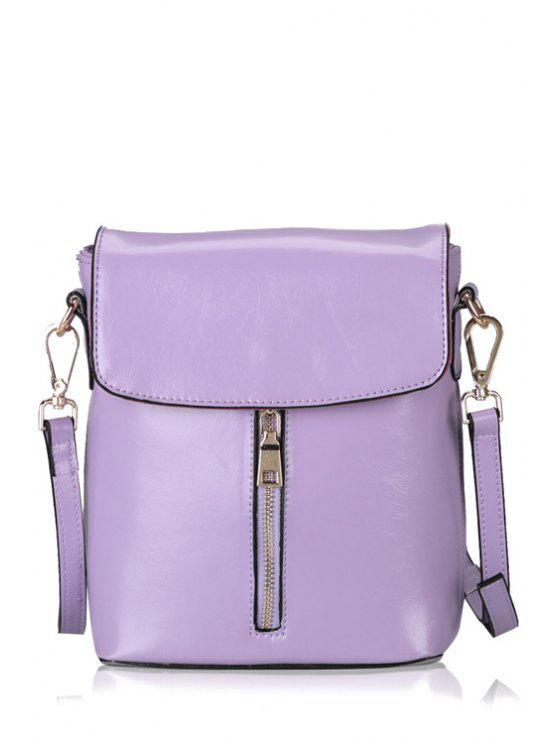 women's Candy Color Zipper PU Leather Crossbody Bag - PURPLE
