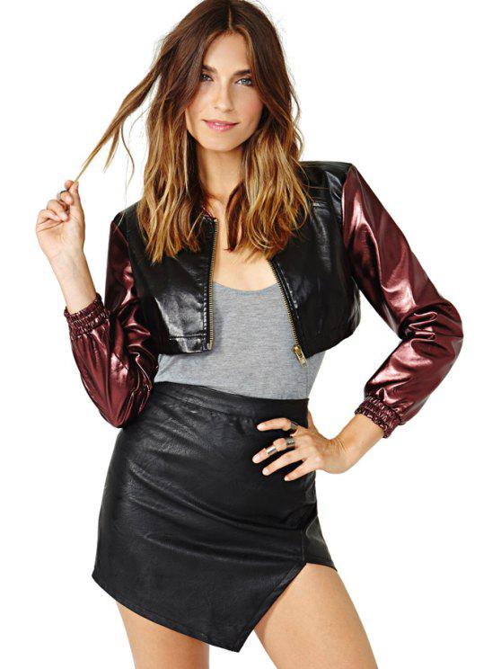 affordable Color Block PU Leather Jacket - RED WITH BLACK XS
