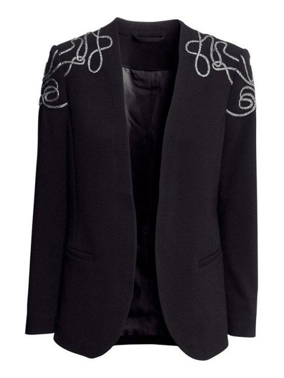 women Embroidery Long Sleeve Blazer - BLACK XS
