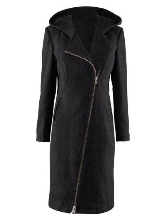 fancy Hooded Black Zipper Design Coat - BLACK XL