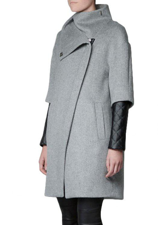 lady PU Leather Splicing Stand Collar Coat - LIGHT GRAY S
