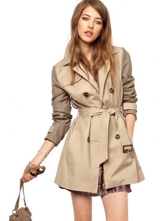 fashion Color Block Belt Trench Coat - KHAKI XS