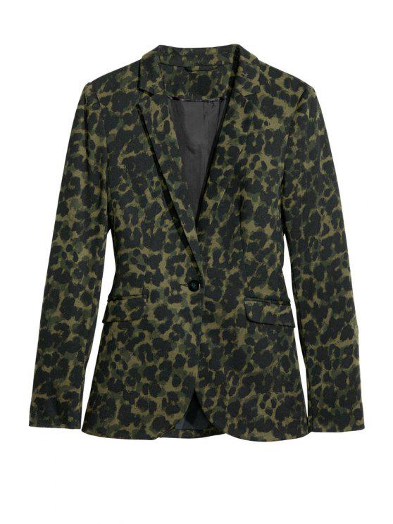 fashion Long Sleeve Leopard Print Blazer - LEOPARD M