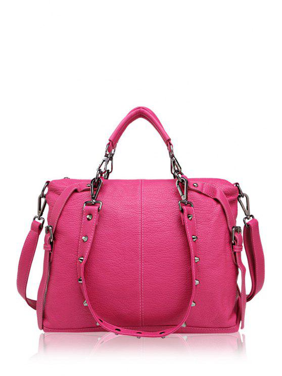 buy Belt Buckle Solid Color Tote Bag - ROSE MADDER