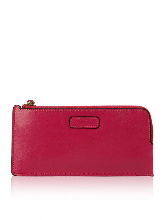 new Solid Color PU Leather Zipper Wallet - ROSE MADDER