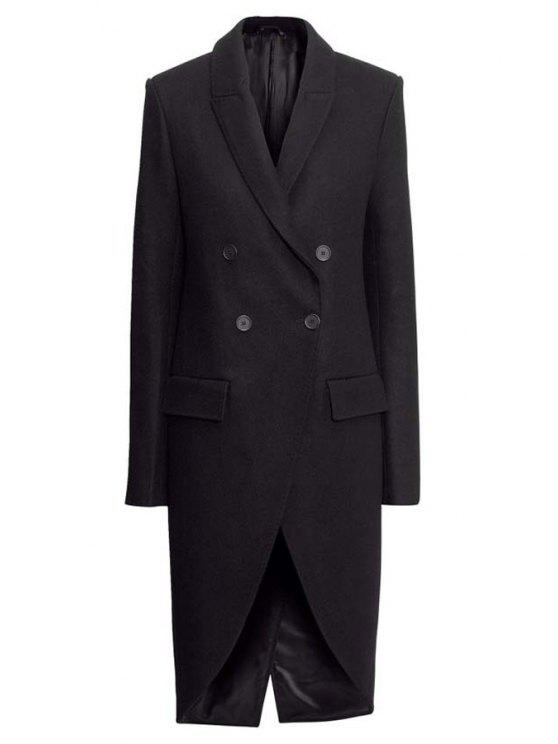 fashion Black Double-Breasted Coat - BLACK XS