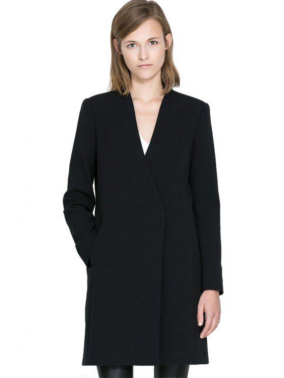 hot Black V-Neck Long Sleeve Coat - BLACK XS