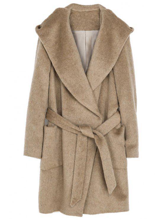 sale Hooded Solid Color Belt Coat - CAMEL XS