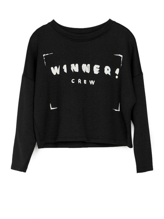 buy Letter Print 3/4 Sleeve Sweatshirt - BLACK XS