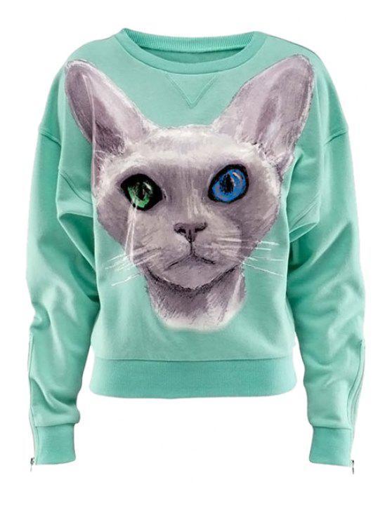 online Cat Print Long Sleeve Sweatshirt - MINT GREEN M