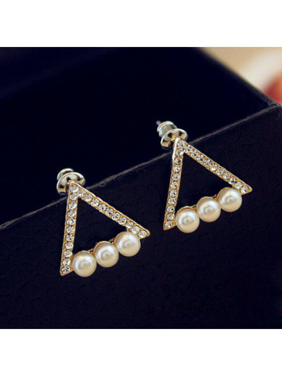 ladies Pair of Cute Women's Faux Pearl Rhinestone Openwork Triangle Design Earrings - AS THE PICTURE