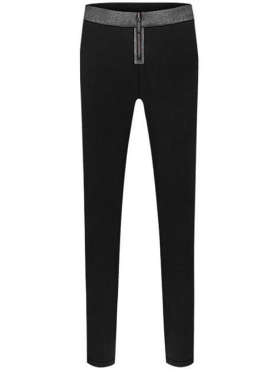 trendy Color Block Zipper Narrow Feet Pants - BLACK S