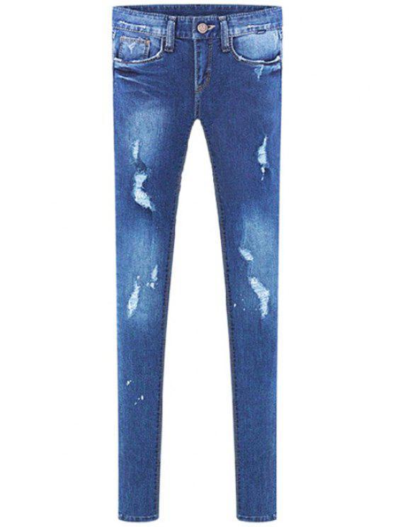 outfit Narrow Feet Broken Hole Jeans - BLUE 26