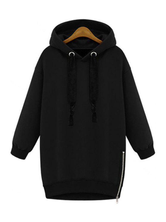 unique Long Sleeves Solid Color Hoodie - BLACK M