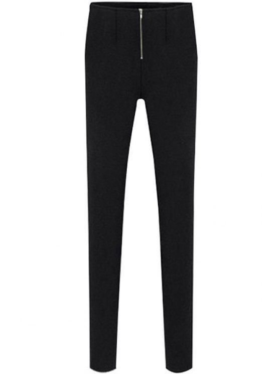 fancy Black Narrow Feet Zipper Pants - BLACK S