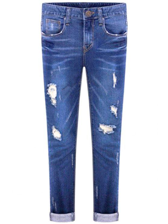 unique Broken Hole Straight Leg Jeans - BLUE 26