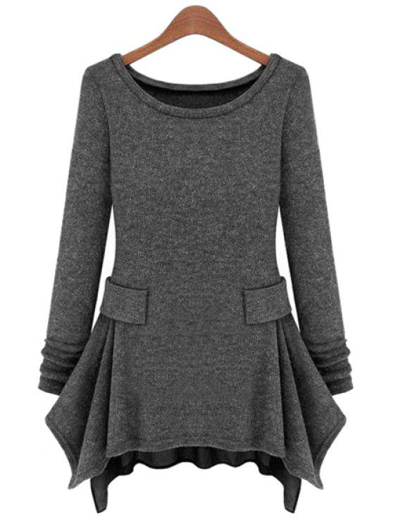 hot Chiffon Splicing Long Sleeve Dress - DEEP GRAY S