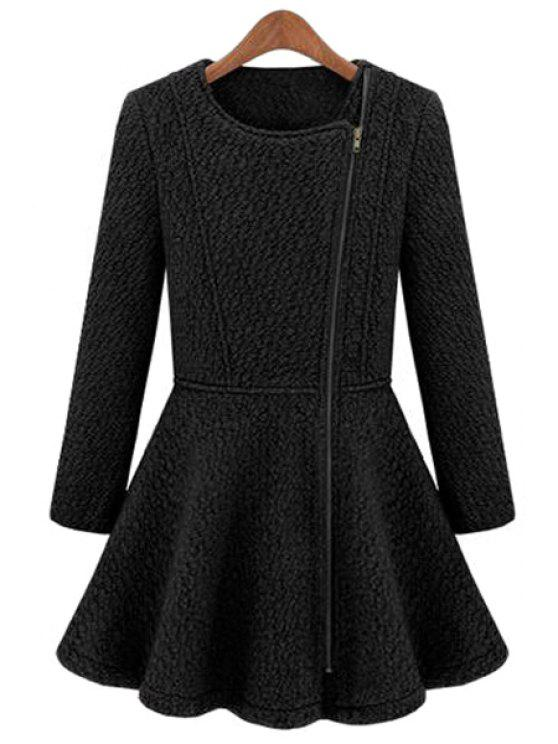 chic Solid Color Flouncing Worsted Coat - DEEP BLUE S