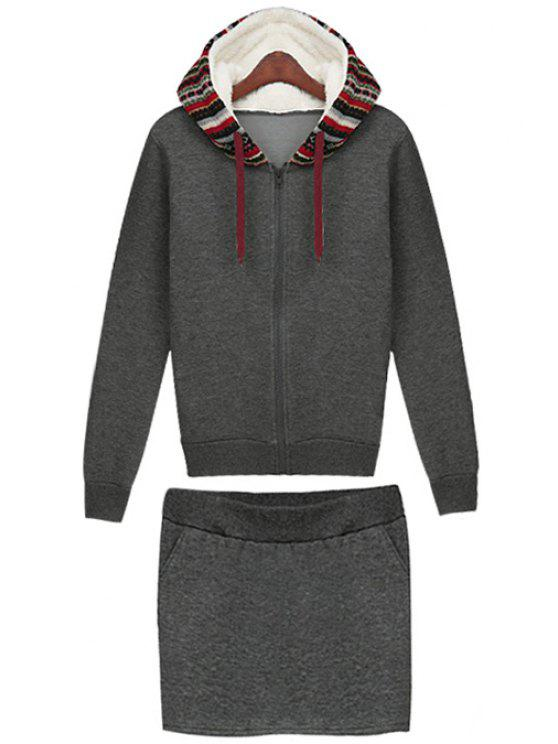 shops Ethnic Pattern Hoodie and Skirt Suit - DEEP GRAY M