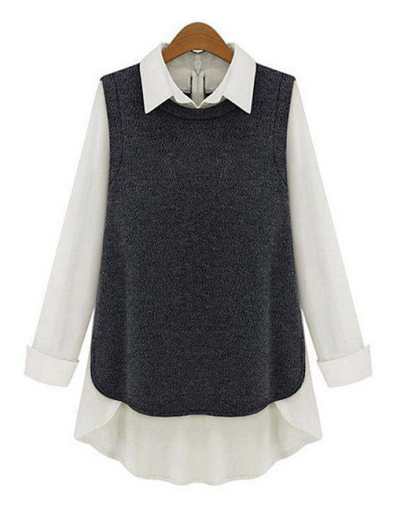 buy Shirt Collar Chiffon Splicing Blouse - DEEP GRAY S