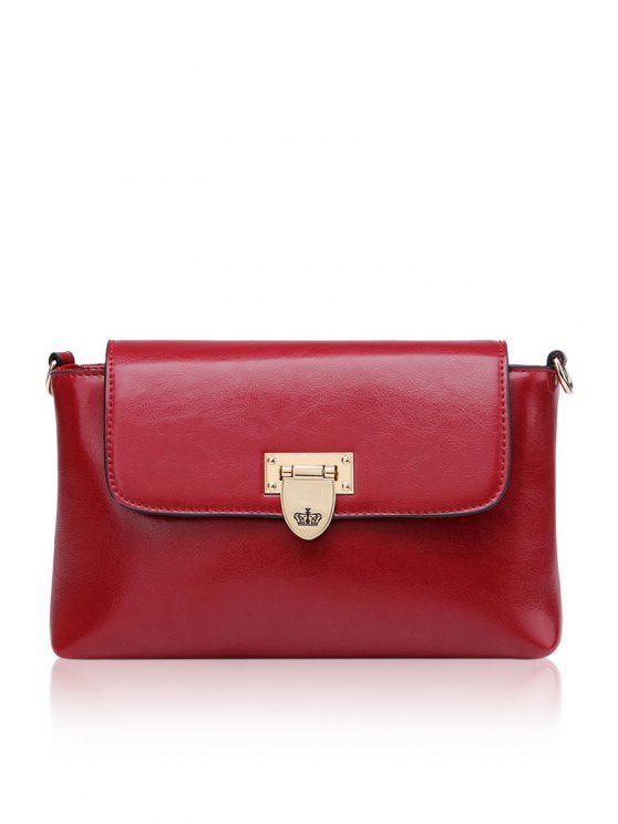 best Metallic Rivets Solid Color Crossbody Bag - WINE RED